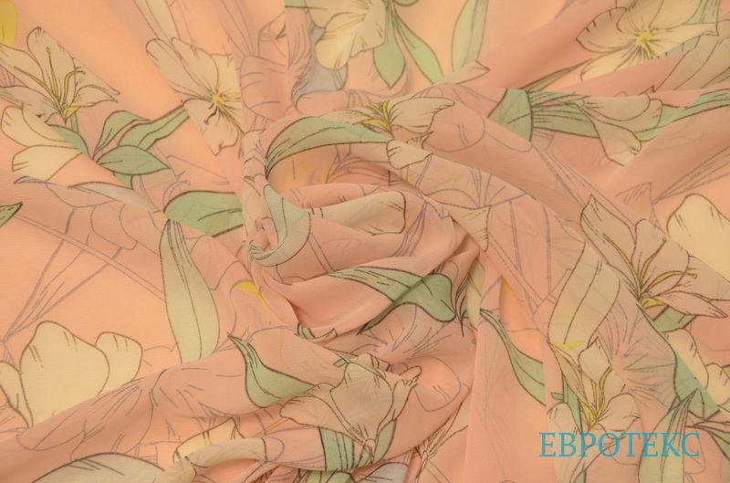 шифон набивной Лилии на персиковом фоне