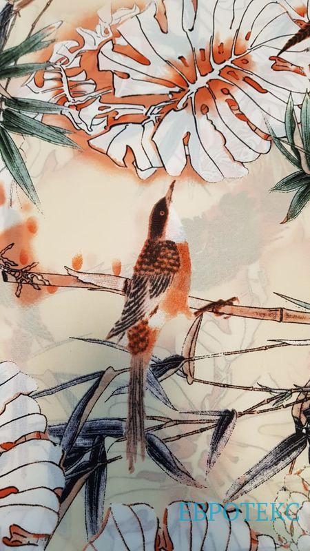 Креп стрейч набивной птички в папоротнике
