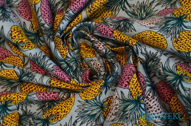 Хлопок плотный Ананасы разноцветные