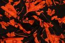 Креп плательный Красные цветы на черном