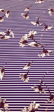 Креп стрейч набивной Цветы на тёмно-синей полоске