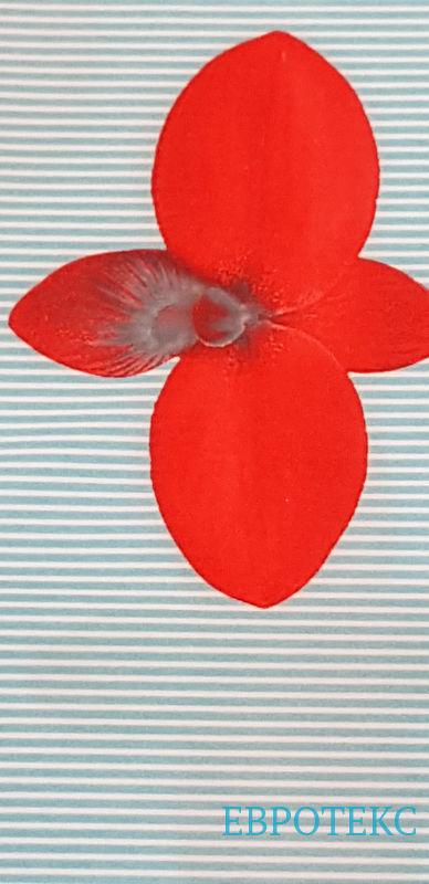 Креп стрейч набивной Красные цветы на голубой полоске