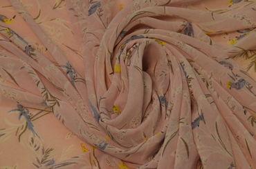 шифон набивной птички на розовом