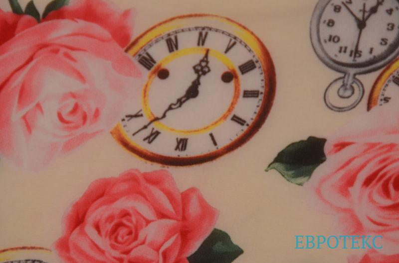 шифон набивной розы и часы на молочном