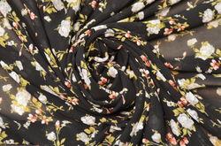 шифон набивной цветы на черном