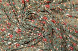 шифон набивной цветы на т.зеленом
