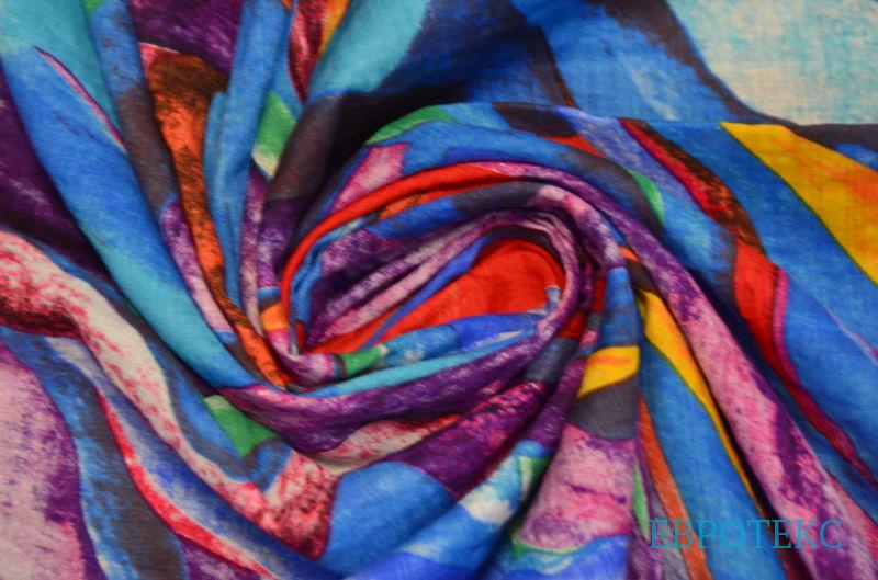 Сорочка набивная абстракция на голубом