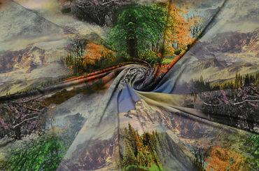Трикотаж масло горный пейзаж 1