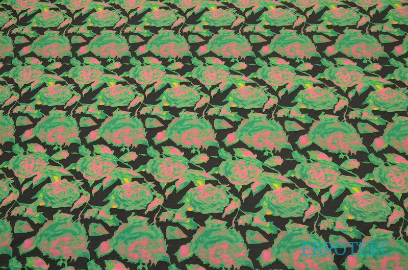 Трикотаж спортивный набивной розы зеленые 3D