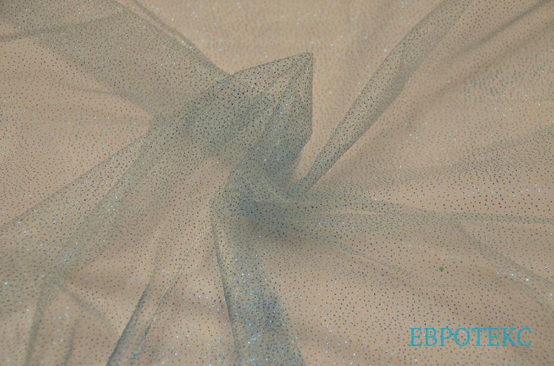 Органза с напылением на голубом фоне