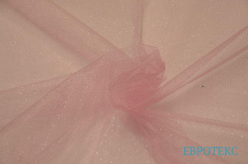 Органза с напылением розовый фон